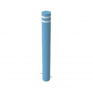 RSSB_168 Steel Static Bollard Blue with Stripes