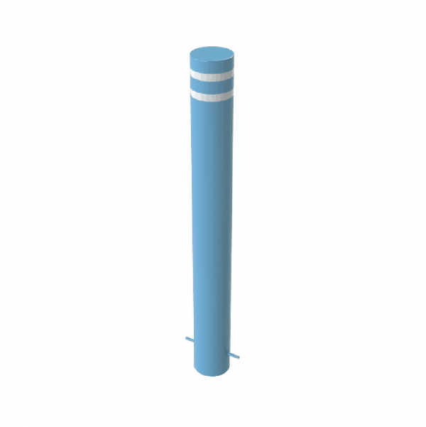 RSSB_193 Steel Static Bollard Blue with Stripes