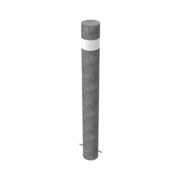 RSSB_193 Steel Static Bollard Grey with Stripe