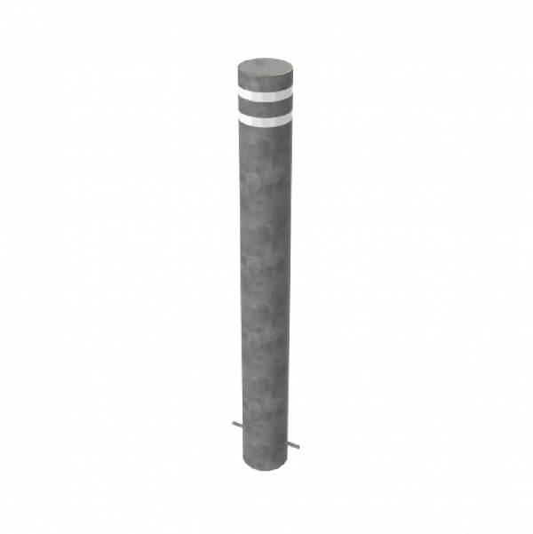 RSSB_193 Steel Static Bollard Grey with Stripes