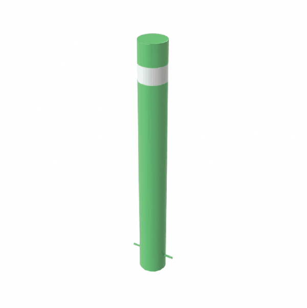 RSSB_193 Steel Static Bollard green with stripe