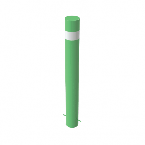 RSSB_219 Steel Anti Ram Bollard Green with Stripes
