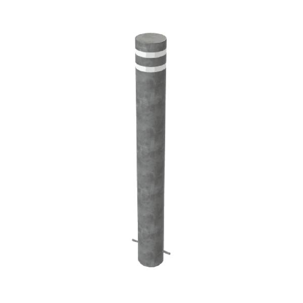 RSSB_219 Steel Anti Ram Bollard Grey with Stripes